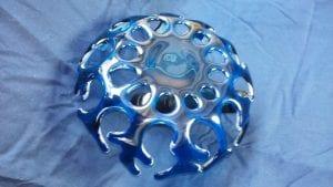 bottom blue fusion coral glass bowl art gregory jones pasco