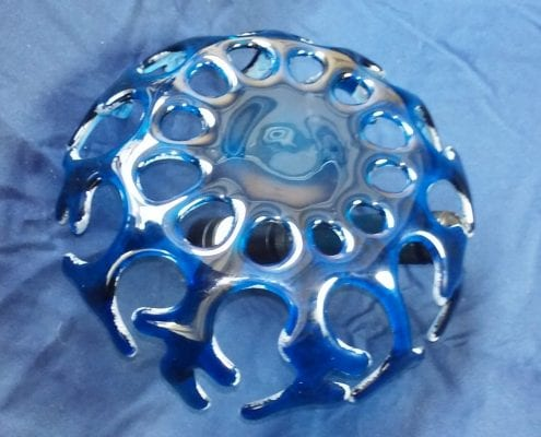 bottom blue fusion coral glass bowl art gregory jones pasco