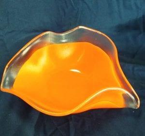orange glass wavy bowls gregory jones costalota glass