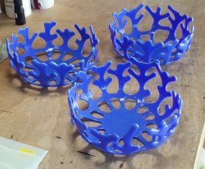 periwinkle coral blue glass fusion bowls gregory jones pasco