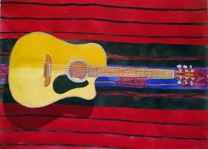 travel guitar roy anderson music art watercolor obsession