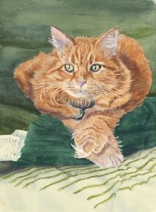 cat family pet animal simple living ellen heath watercolor painting dixie