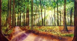 Fingers God country forest landscape suzi vitulli watercolor