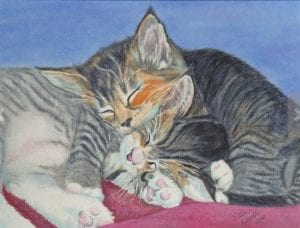 two kittens cats snuggling family pet simple living ellen heath dixie watercolor painting