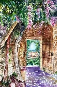Gimignano watercolor flower floral landscape arch deborah bruce florist watercolor painter