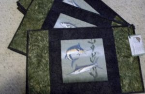 ocean fish placemats quilt textile fabric art Catherine Little