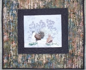 sage grouse bird wildlife art quilt catherine little