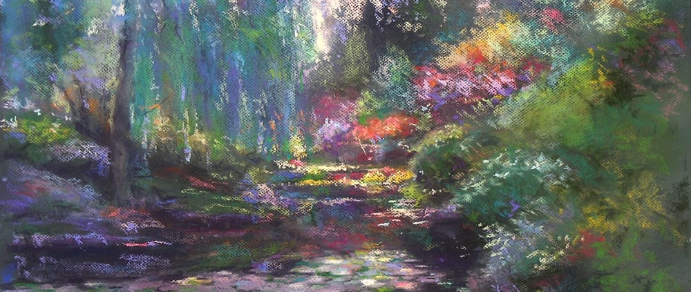 bouchart pond country fantasy landscape pastel painting kirk compana