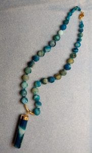 beaded necklace blue green beads mary calanche dayton