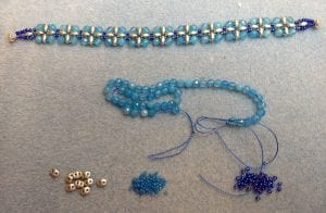 blue beads necklace bracelet earrings jewelry mary calanche