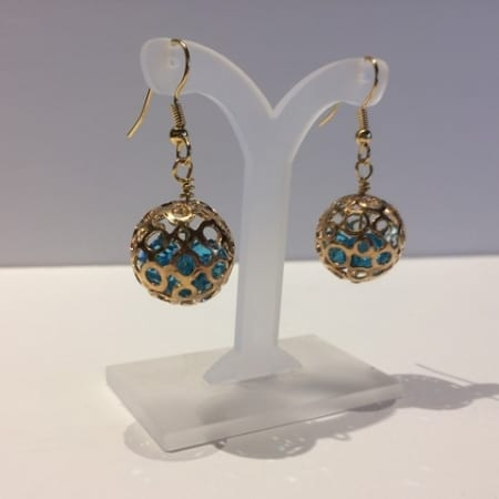 Round, Gold, and Blue Earrings