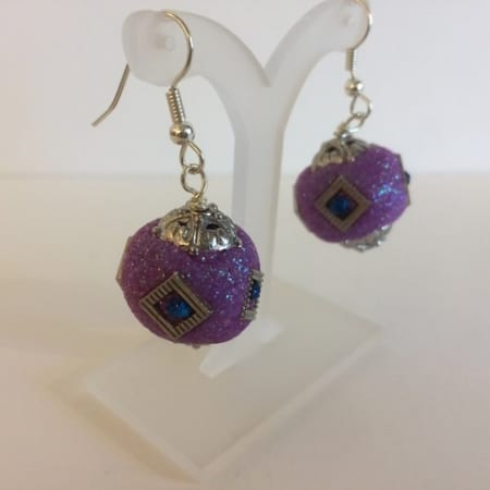 Round, Purple, and Blue Earrings
