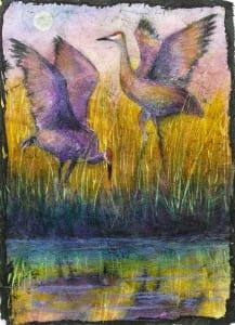 birds flying tall grass swamp herons batik watercolor painting