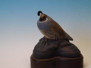 quail tupelo wood carving sculpture Jerry Poindexter