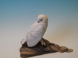 snowy white owl bird carving tupelo wood sculpture jerry poindexter