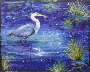 swimming heron bird in pond raining batik watercolor painting