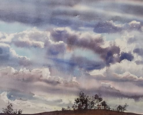 ashton idaho silhouette sky storm clouds joyce anderson watercolor painting