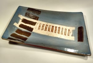 blue platter slab built ceramic pottery dave raynalds