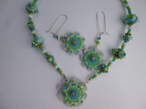 dreamy blues necklace earrings murano lampwork glass beads jewelry venita simpson