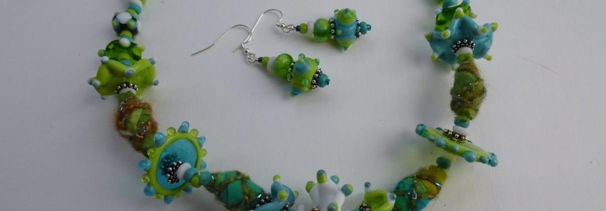 happy place necklace earrings murano lampwork glass bead jewelry venita simpson