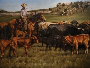 office space Montana cowboys herding cattle livestock cows western art tobias sauer