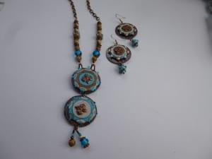 sandstone turquoise desert earrings necklace jewelry lampwork murano glass bead jewelry Venita Simpson