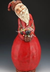 christmas gourd paper mache santa claus sculpture sheryl parsons holiday art