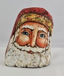 northwood stump wooden santa sculpture Christmas art Sheryl Parsons Wallowa Oregon