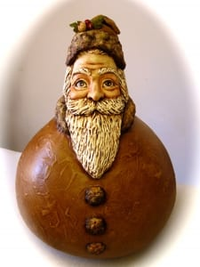 victorian dream santa christmas holiday gourd sculpture art sheryl parsons