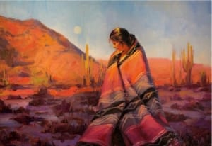 moon rising southwest tucson arizona desert beauty indian woman blanket steve henderson painting art