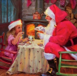 tea for two party santa claus little girl christmas eve wood stove fire steve henderson art holidays
