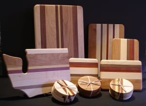 cheese sushi cutting boards hardwood coasters dave ulmen spokane woodworking