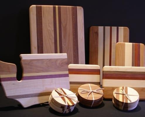 cheese sushi cutting boards hardwood coasters dave ulmen spokane woodworking