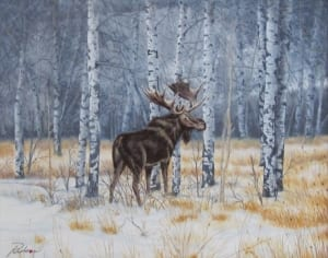 moose forest wildlife woods landscape keith rislove art