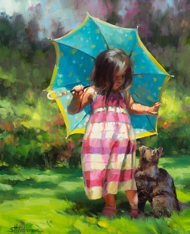 teal umbrella child country girl cat show kindness steve henderson art