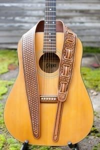 basket stamp leather guitar strap colladay jeremiah western handcrafted