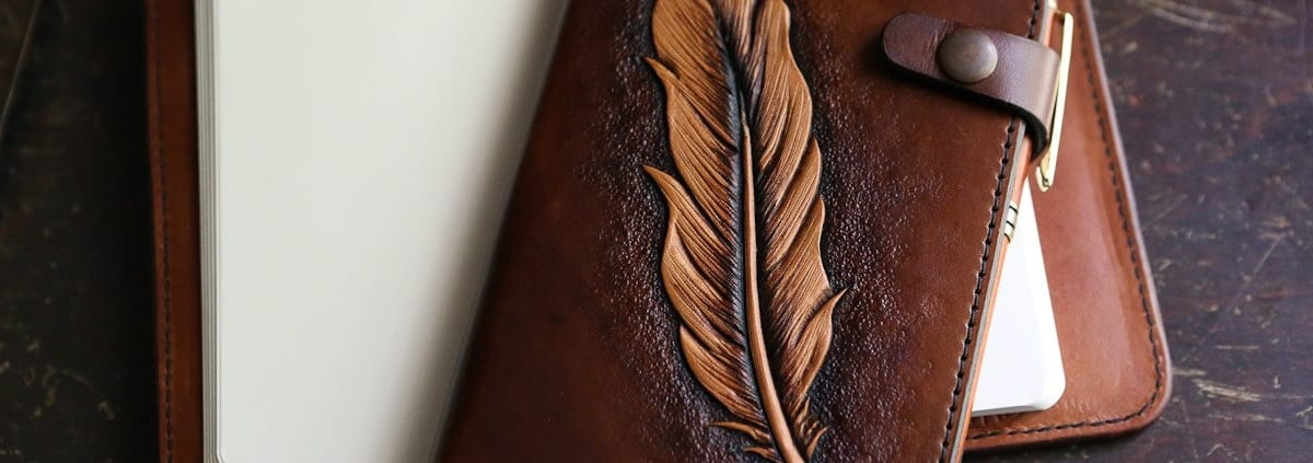 leather journal cover feather western handcrafted jeremiah colladay
