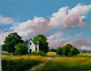 summer farm home house landscape country becky melcher acrylic