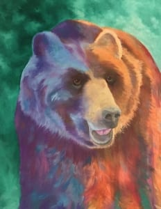 colorful bear animal wildlife david partridge oil painting artist