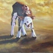 cow baby calf farm animal david partridge oil painter artist
