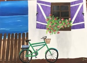 bicycle flowers buildings fence europe acrylic painting summer barcenas