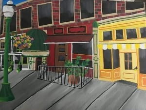 downtown europe travel buildings acrylic painting summer barcenas