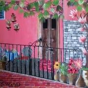 Motovun europe city acrylic painting flowers summer barcenas landscape travel