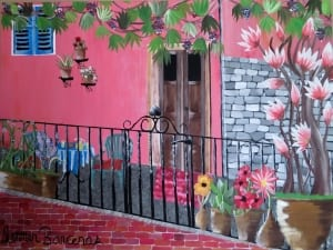 Motovun europe city acrylic painting flowers summer barcenas landscape travel