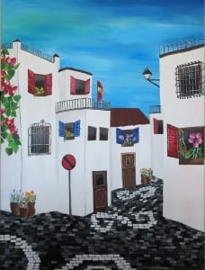 Andalucia europe travel city buildings acrylic painting summer barcenas