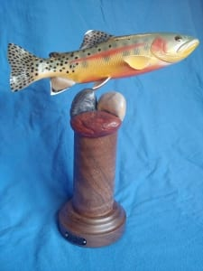 golden trout fish wooden sculpture tom schirm