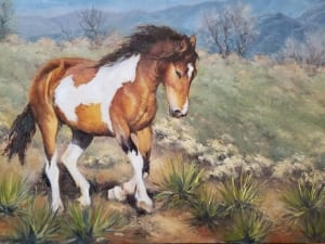 painted horse equine animal westernmagical landscape oil painting adszynska