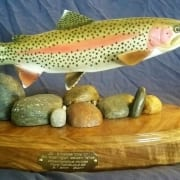 rainbow trout fish carved wooden sculpture art tom schirm