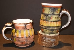 red rocket themed ceramics pottery mugs kassie smith