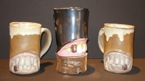 Teeth pottery mugs kassie smith